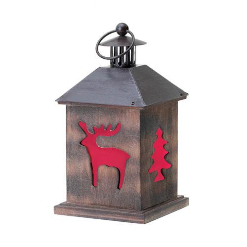 Winter cabin wooden lantern swcwfm 10015962 for Wooden garden lanterns
